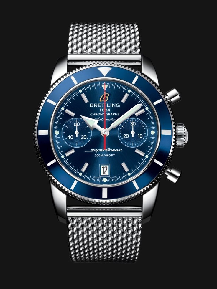 Superocean Héritage Chronographe 44 watch by Breitling - stainless steel case with blue bezel and blue dial plus steel mesh bracelet