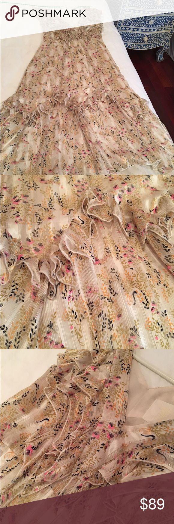 Anthropologie Anna Sui dress Beautiful silk print Anna Sui for Anthropologie dress is size 00. The most feminine dress ever! Anna Sui Dresses Midi