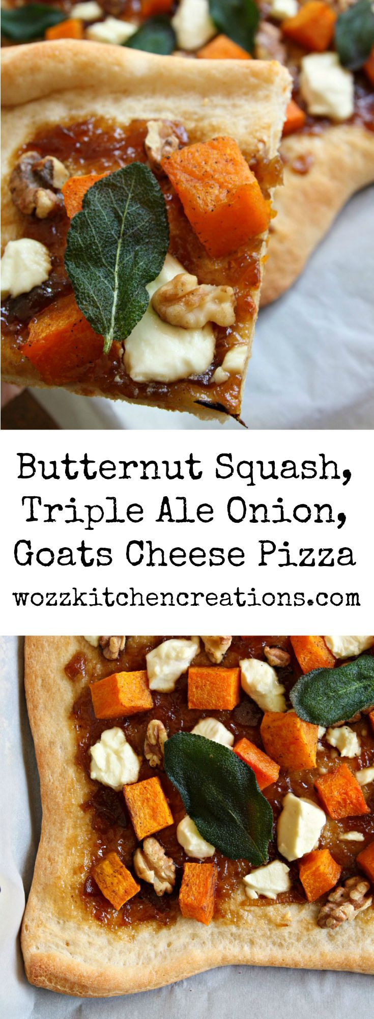 Butternut Squash Pizza with Wozz! Triple Ale Onion Spread, Goats Cheese, Walnuts and Crispy Sage