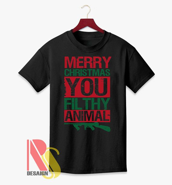 Merry Christmas You Filthy Animal Black Mans T-shirt by RSDesaign