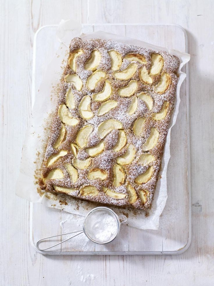 Mary Berry's Spiced Dorset Apple Traybake from our #BakingAtoZ feature. See the recipe: http://thehappyfoodie.co.uk/recipes/spiced-dorset-apple-traybake
