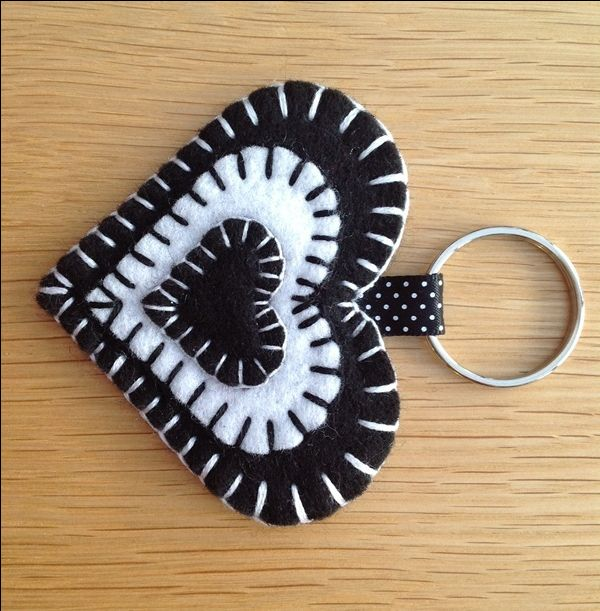 Black & White Felt Heart Keyring Bag Charm - folksywedding £2.00