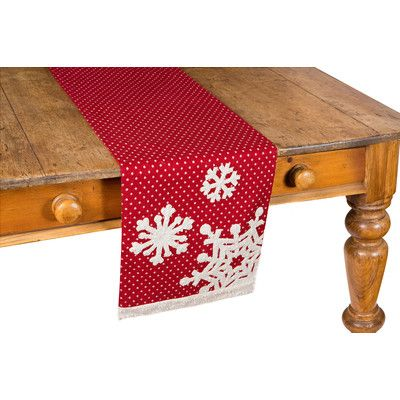 Features:  -Shimmering gilded snowflakes and trim, vintage polka-dot whimsy, Soft and warm red backdrop.  -Matching placemat and runners available.  -Hand wash in cold water.  -Snowflake collection.