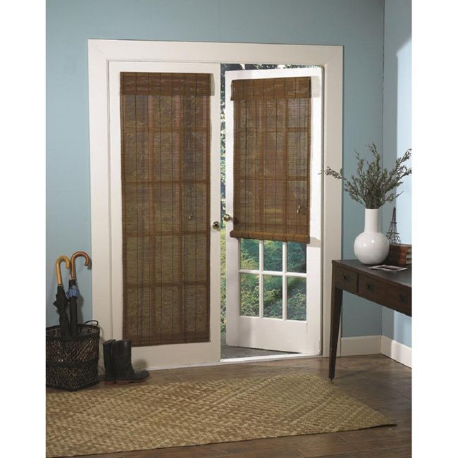 Roman fruitwood bamboo french patio door shade insulation for French patio doors with blinds