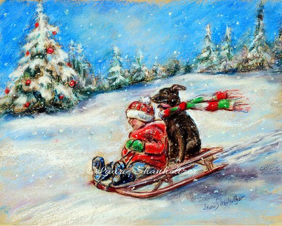 """Christmas Sled Ride"" reproduction of original by Laurie Shanholtzer Choose size, fine art print. ~Pure joy!! ...You and your best friend sledding across the Christmas snow!~"