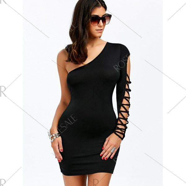One Shoulder Criss Cross Bodycon Dress 1 99 Check Out All Of The Other Specials Before They Are Gone Affilia Clothes For Women Dresses Black Bodycon Dress