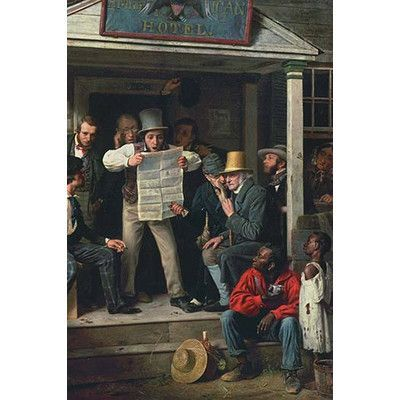 "Buyenlarge War News from Mexico by Richard Caton Woodville Painting Print Size: 42"" H x 28"" W x 1.5"" D"