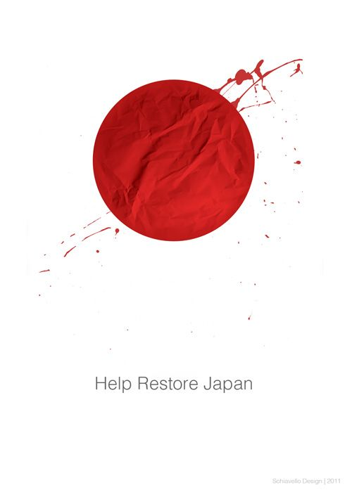 """Source: Steve Schiavello - """"Help Restore Japan"""". Another more explicitly violent piece, the blood splatter being more prominent, even though the texture of the red sun is more like crumpled paper or cloth. More visceral and provokes stronger emotions."""