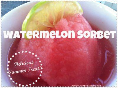 Recipe- Watermelon SorbetRecipe'S Watermelon Sorbet, Popsicles Recipe, Frozen Treats, Cream Frozen Desserts, Stars, Chase, Sorbet Recipe'S Refreshing, Icecream, Summer Treats