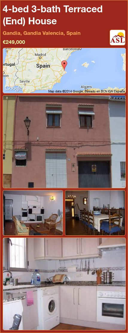 4-bed 3-bath Terraced (End) House in Gandia, Gandia   Valencia, Spain ►€249,000 #PropertyForSaleInSpain