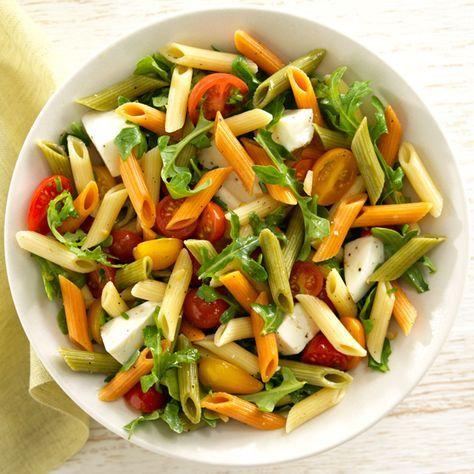 Barilla Tri Color Penne Pasta Salad With Arugula Cherry Tomatoes Fresh Mozzarella