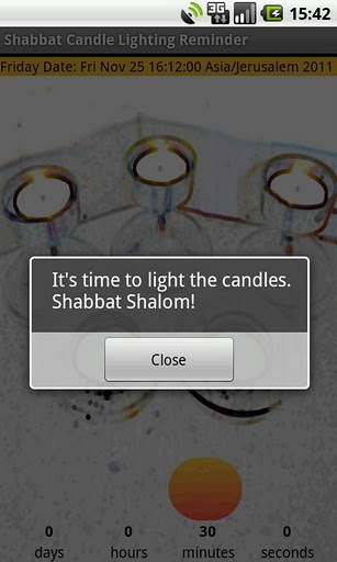 The Shabbat Candle Lightning Reminder for Android is a great way to be reminded of the Shabbat candles lighting time.