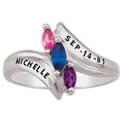 Daughter's Marquise Birthstone Ring in Sterling Silver (3 Stones, 1 Name and Date)