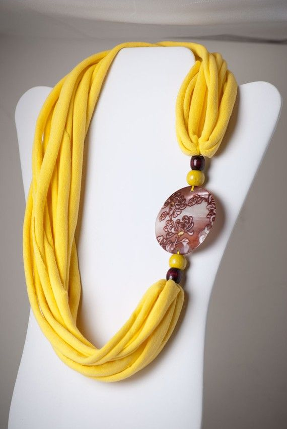 upcycled yellow and chocolate tshirt necklace
