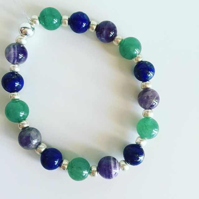 ♐️ Sagittarius bracelet: Aventurine, Lapis Lazuli, Amethyst, Czech rocailles, Silver Price EUR 20 (plus EUR 4 for international registered shipping, and EUR 4 for optional gift package). For your personal bracelet, contact me on e-mail in bio.  #bracelet #bracelets #semipreciousstones #sagittarius #zodiac #sign #amethyst #aventurine #lapislazuli #silver #armcandy #armparty #jewellery #jewelry #jewellerymaking #jewellerybrand #jewellerydesign #czechbrand #ombljewellery #dowhatyoulove