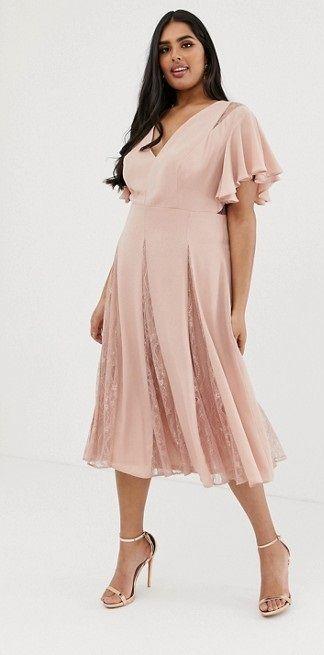 6da8857dc66 DESIGN Curve midi dress with godet lace inserts in 2019