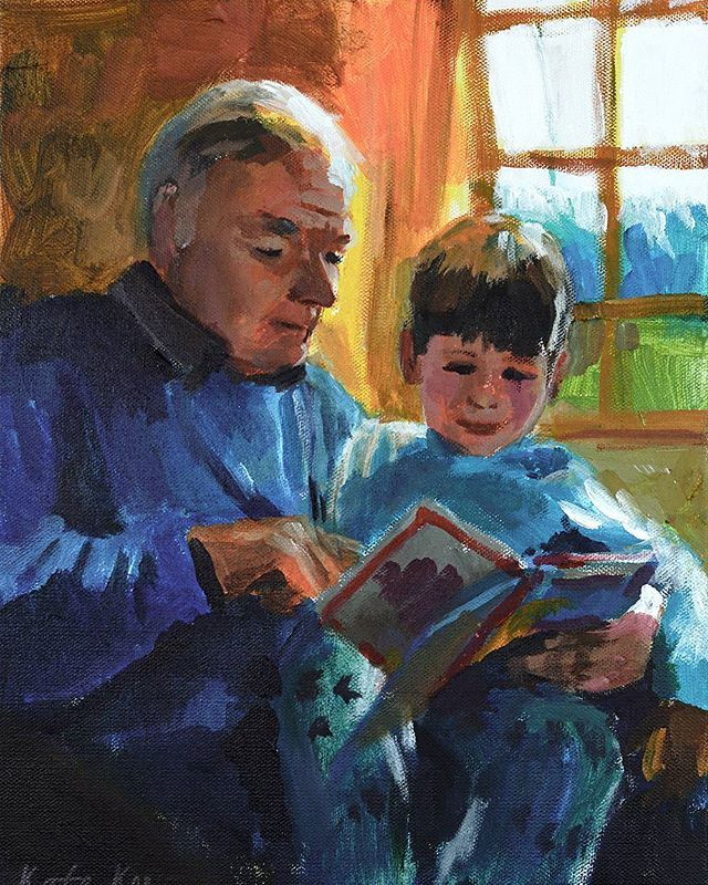 Gerry n Joe,  acrylic on canvas #painting #art #acrylicpainting #goodnightstory #readingbook #granddad  #grandson #books #love_arts_help #lovemyjob #artcollective #art_motive
