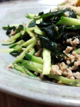 wakame fry 「わかめ」の炒め物 (ground beef, wakame, cucumber)