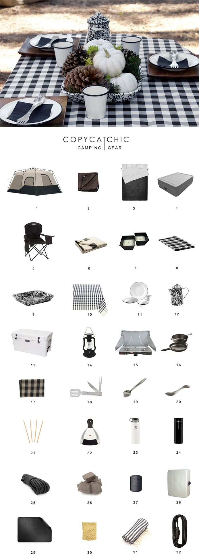 Camping | A complete list of what to pack when going glamping | a comprehensive list of everything you need @copycatchic luxe living for less http://www.copycatchic.com/2016/10/what-to-pack-for-glamping.html?utm_campaign=coschedule&utm_source=pinterest&utm_medium=Copy%20Cat%20Chic&utm_content=What%20to%20pack%20for%20camping