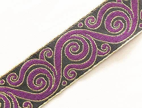 Jacquard Trim. Purple, Black & Gold. Celtic Scrolls. 3 Yards