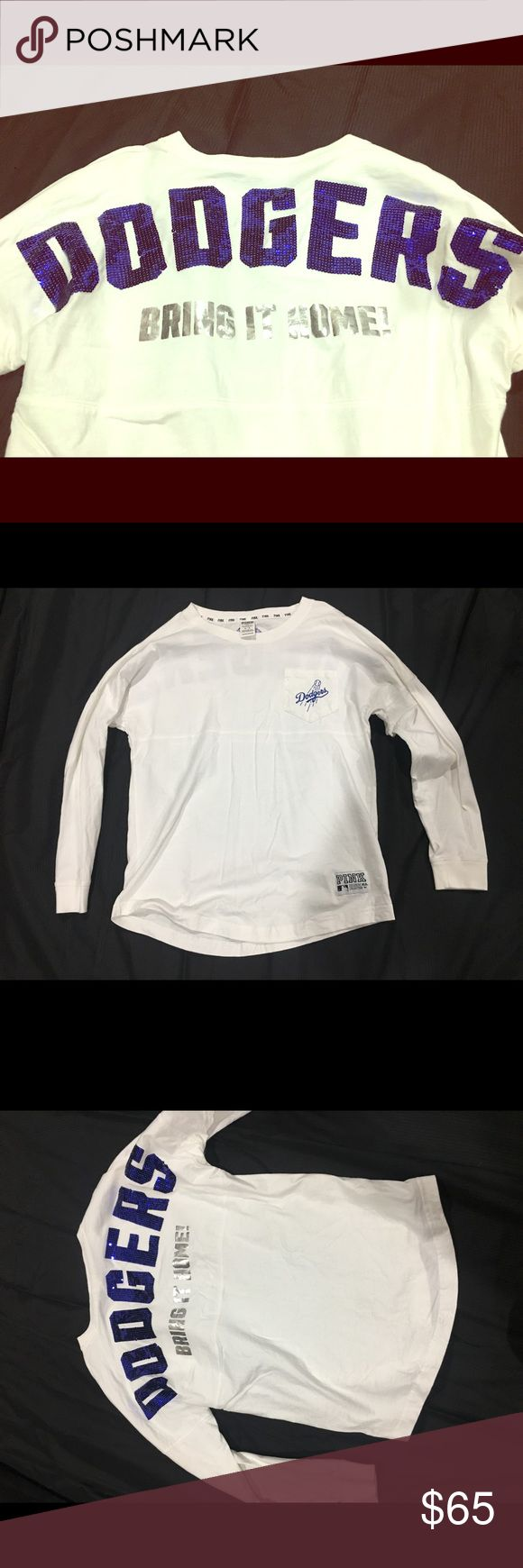 Pink MLB Dodger Sequin Long sleeve Shirt Beautiful Pink MLB Dodger Sequin Long sleeve Shirt. Great condition. Worn once or twice, if that. Ready to sell, just in time for Playoffs!💙💙💙⚾️ PINK Victoria's Secret Tops Tees - Long Sleeve