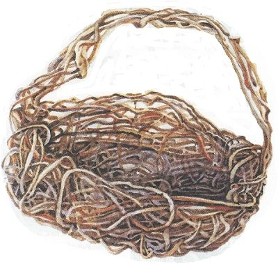 How to make a random weave basket for beginners, including vine selection, directions, diagrams. Originally published as