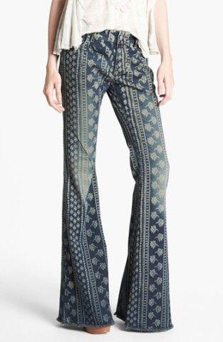 Free People 'Bali' Print Flare Leg Jeans (Indigo Combo)