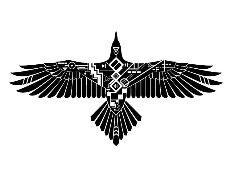 Tribal robotic raven tattoo Wallpaper