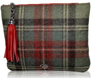 Handmade Harris Tweed Tartan Womens Clutch Bag Leather Tassel Fashion Handbag