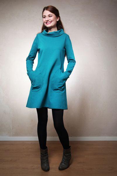 Knielange Kleider - Ella Winterkleid petrol - ein Designerstück von Mirastern bei DaWanda