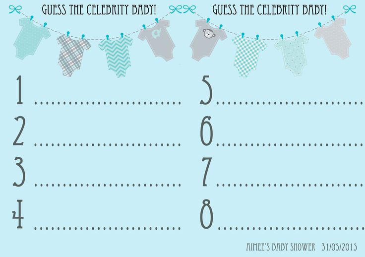 Baby Shower Game Guess That Celebrity Baby Answer Cards