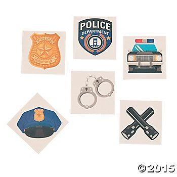 Police Party Tattoos - 6 Pack Party Supplies Canada - Open A Party