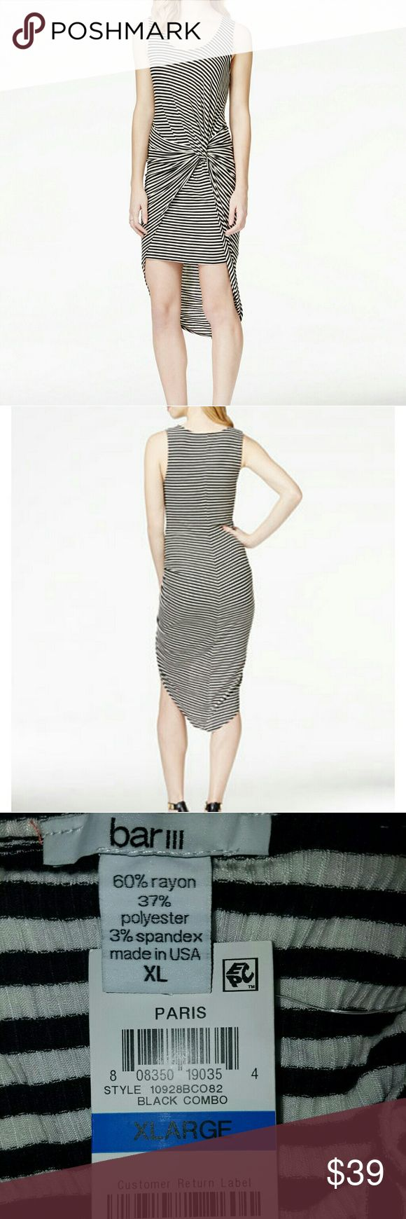 Bar 111 Striped Knotted Hi~Low Dress Bar 111 Sleeveless Pull Over Style w/High~Low Hemming featuring a Side Knot for Tummy Coverage & Xtra Stylish Appeal.  Rayon~Spandex~Poly Machine Washable Bar III Dresses High Low
