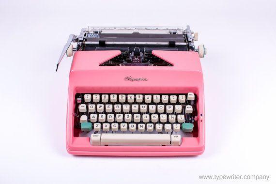 CHRISTMAS SALE - Pink Olympia Monica sm9 - vintage working typewriter - pink typewriter - portable typewriter