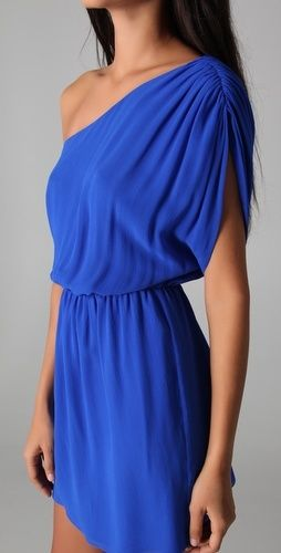 Wedding guest attire - not normally a one shoulder dress fan but this is elegant and cobalt blue is one of my favorites