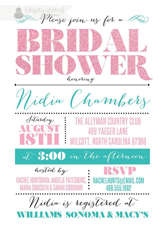 Blush Pink & Teal Bridal Shower Invitation by digibuddhaPaperie