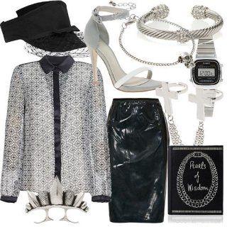 Прозрачная блузка с принтом в серых тона, с черным воротником и окантовкой…