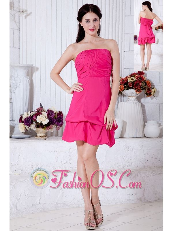 Hot Pink A-line Strapless Cocktail Dress Taffeta Ruch Mini-length  http://www.fashionos.com  http://www.facebook.com/quinceaneradress.fashionos.us   There's just something about vintage-inspired gowns that no other style can duplicate! A strapless straight neckline on a structured bodice accented with organized pleats. The mini-skirt falls from the high waist with soft layers to add a playful effect.