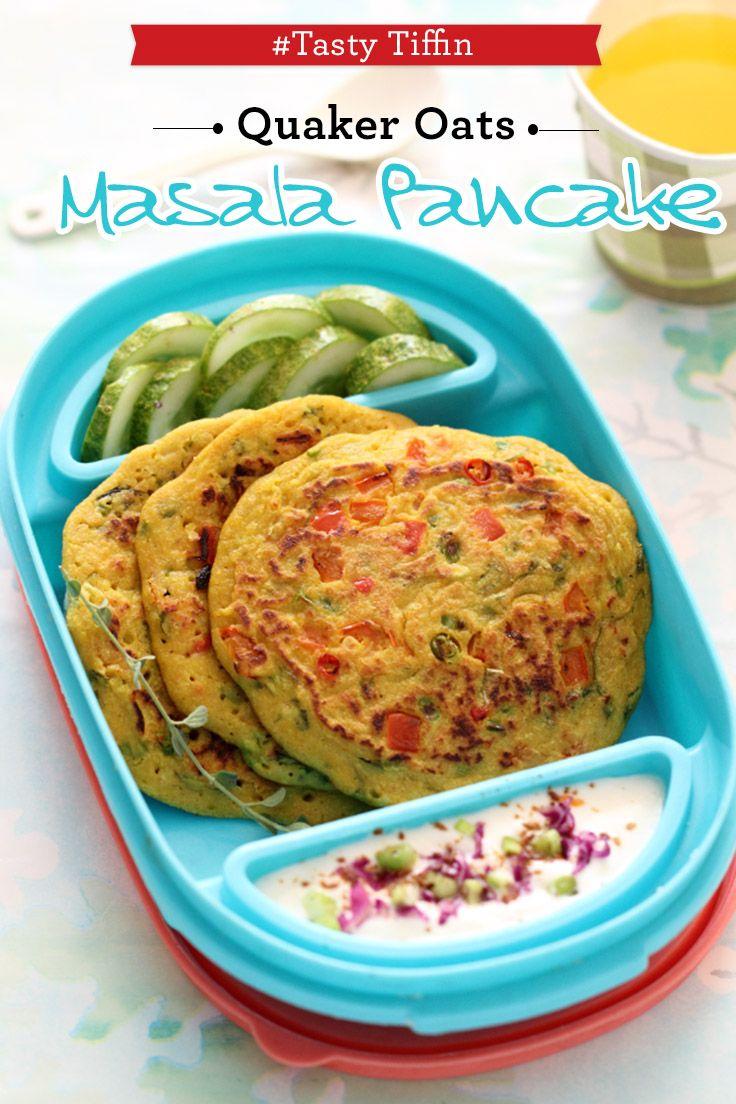 Bored of your usual parantha? Try our Quaker Masala Oats Pancake tiffin #Oatilicious #QuakerOats #Recipe #OatsRecipe #HealthyRecipe #HealthyAndTasty #TiffinRecipe #LunchBoxRecipe #pancakes #HealthyPancakes #PancakeRecipe