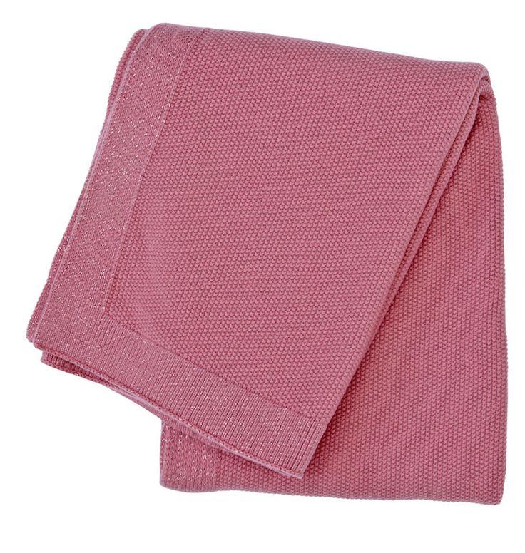 SeedStitch blanket, light pink/glitter