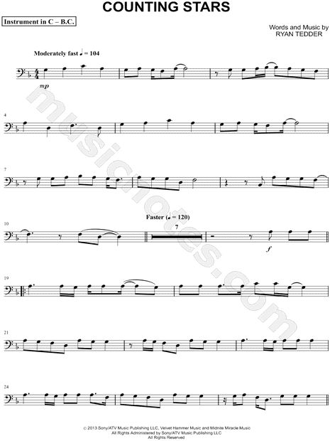 print and download counting stars bass clef instrument sheet music by onerepublic arranged for. Black Bedroom Furniture Sets. Home Design Ideas
