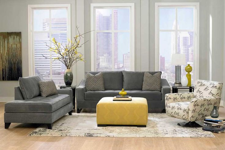 Grey Sofa Living Room Design Ideas with grey wall color and wooden floor also yellow table