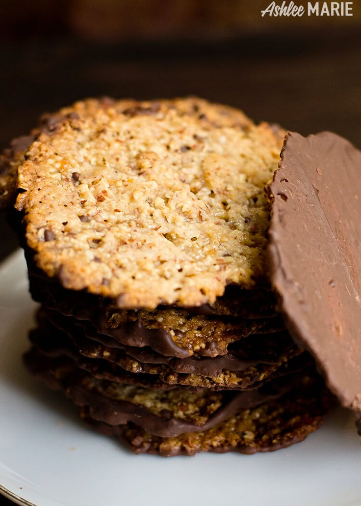 almond lace florentine cookies