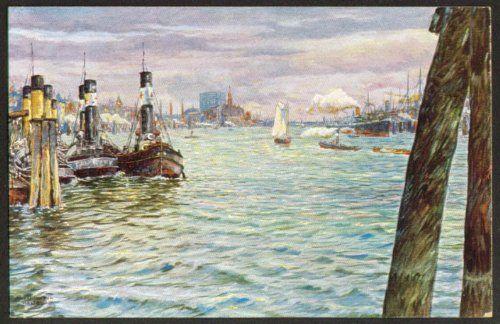 Hamburg Harbor postcard Max Ullmann 1910s