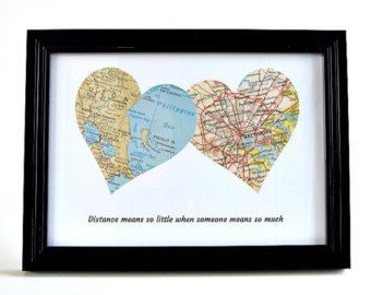 Personalized Map Heart / Long Distance by salvagedstudiomke
