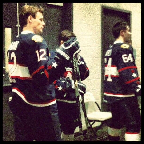 Ryan Hamilton and the rest of the the Western Conference All-Stars getting ready to hit the ice.