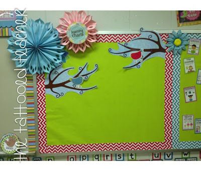 Anchor Chart Bulletin Board - make flowers to decorate, accordian-fold paper and arrange in circle then cover middle with paper