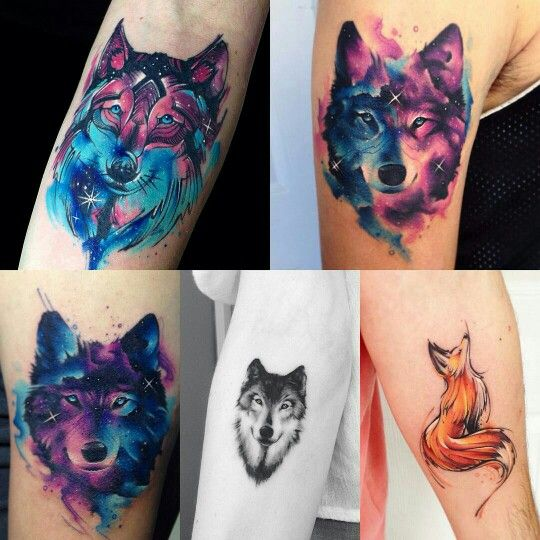 Adrian Bascur  - watercolor wolf tattoo