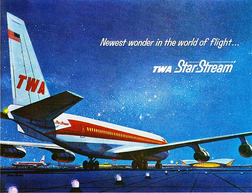 1962- Boeing 707 by x-ray delta one, via FlickrStars Stream, Vintage Airlines, Airlines Posters, Commercials Aviators, Twa Posters, Starstream Advert, Twa Starstream, Vintage Travel, Boeing 707