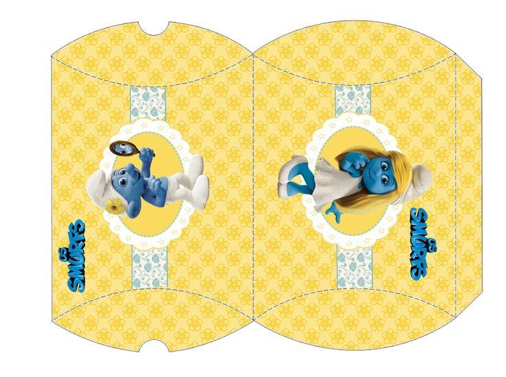 """kit de aniversário """"os smurfs"""" para menina - cone de guloseimas """"os smurfs"""", convite """"os smurfs"""", etc... - Convites Digitais Simples"""